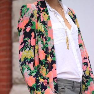 Cartonnier Bright Floral Draped Blazer